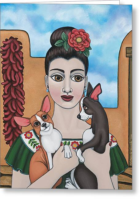 Chicano Greeting Cards - Mis Carinos Greeting Card by Victoria De Almeida