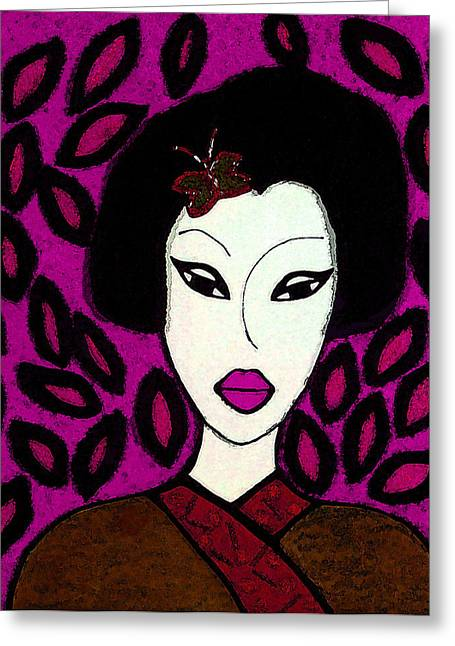 Fushia Greeting Cards - Misaki Fushia and Amber Greeting Card by Janice Garner