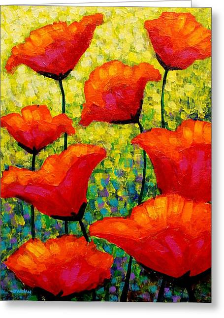 Landscape Mixed Media Greeting Cards - Mischas Poppies Greeting Card by John  Nolan