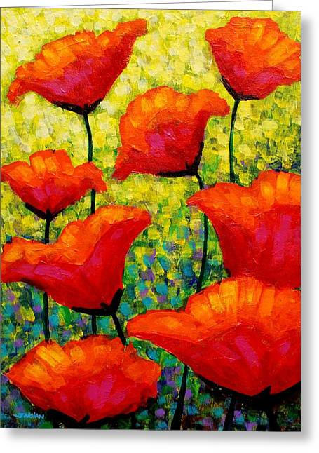 Mischa's Poppies Greeting Card by John  Nolan