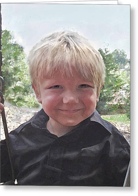 Little Boy Greeting Cards - Mischevious Greeting Card by Jane Schnetlage