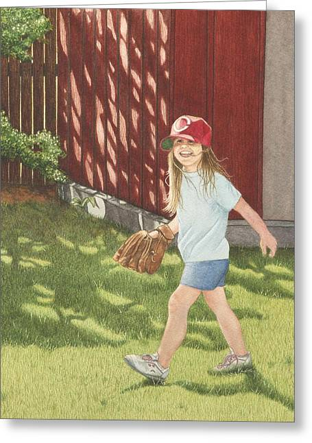 Baseball Glove Paintings Greeting Cards - Mischief Greeting Card by Dee Dee  Whittle