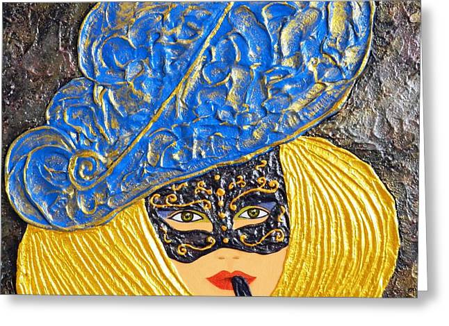 Mask Reliefs Greeting Cards - Mischief Greeting Card by Liza Wheeler