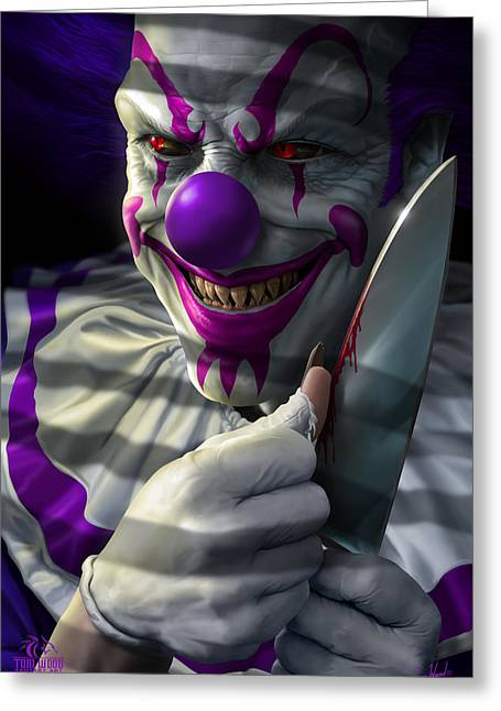 Butcher Knife Greeting Cards - Mischief the Clown Greeting Card by Tom Wood