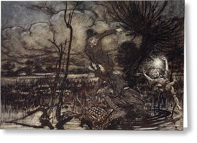 Shakespearean Greeting Cards - Mislead Night-wanderers, Laughing Greeting Card by Arthur Rackham