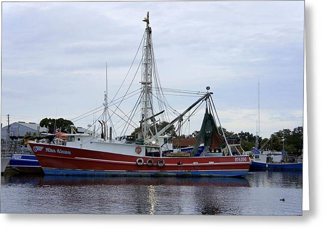 Docked Boat Greeting Cards - Miss Alena Greeting Card by Laurie Perry
