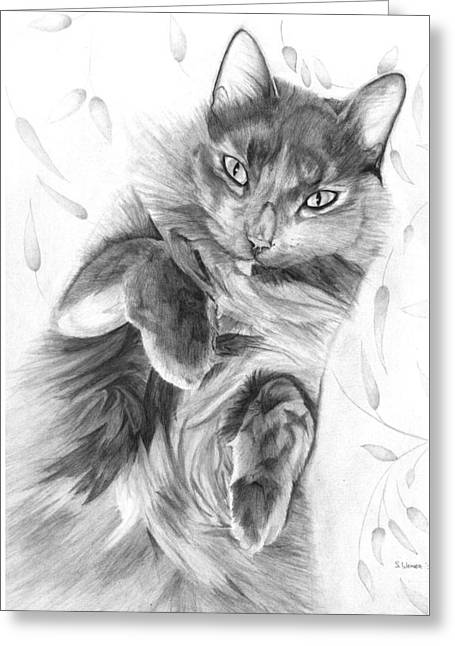 Cat On Back Greeting Cards - Miss Blue Greeting Card by Sandra Weiner