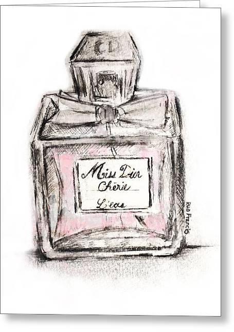 Dior Greeting Cards - Miss Dior Greeting Card by Rua Francis