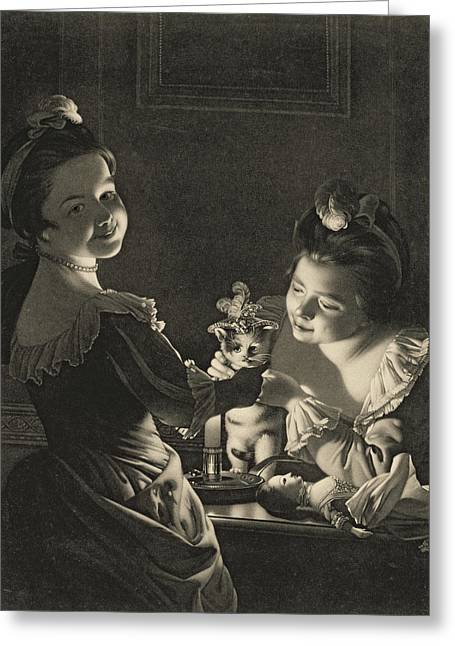 Dressing Up Greeting Cards - Miss Kitty Dressing, 1781 Mezzotint Greeting Card by Joseph Wright of Derby