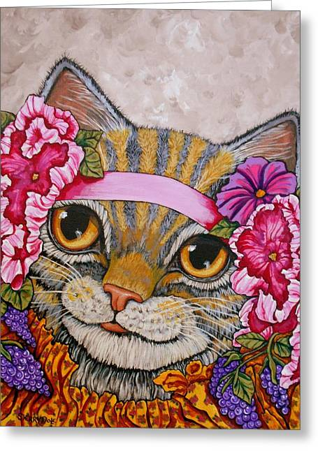 Fanciful Cat Art Greeting Cards - Miss Kitty Greeting Card by Sherry Dole