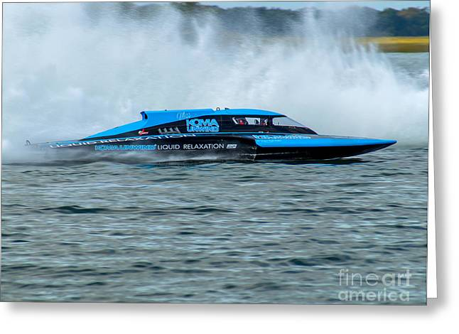 Unwind Photographs Greeting Cards - Miss Koma Unwind - Grand Prix Hydroplane Greeting Card by Nick Zelinsky