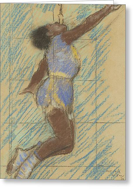 Ballerinas Pastels Greeting Cards - Miss Lala at the Fernando Circus Greeting Card by Edgar Degas