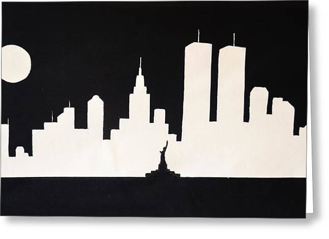 Nyc Posters Paintings Greeting Cards - Miss Liberty Saluting the Twin Towers Greeting Card by Thomas Kolendra
