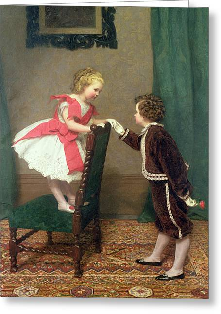 Boy Meets Girl Greeting Cards - Miss Lilys First Flirtation Greeting Card by James Haylar