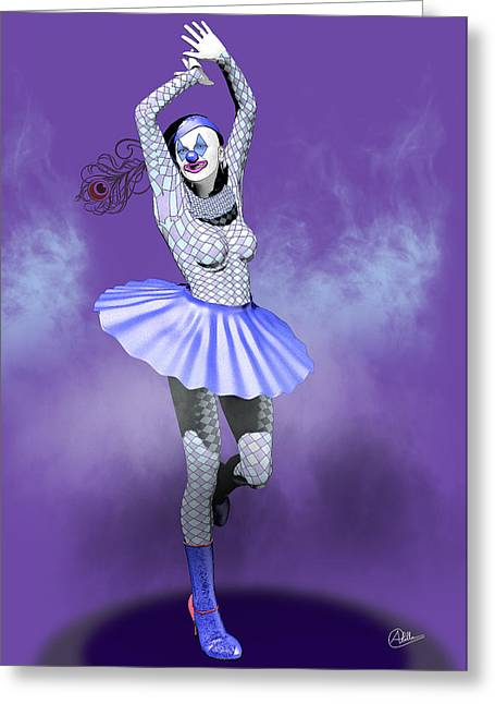 Dress Greeting Cards - Miss Pierrette in love By Quim Abella Greeting Card by Joaquin Abella
