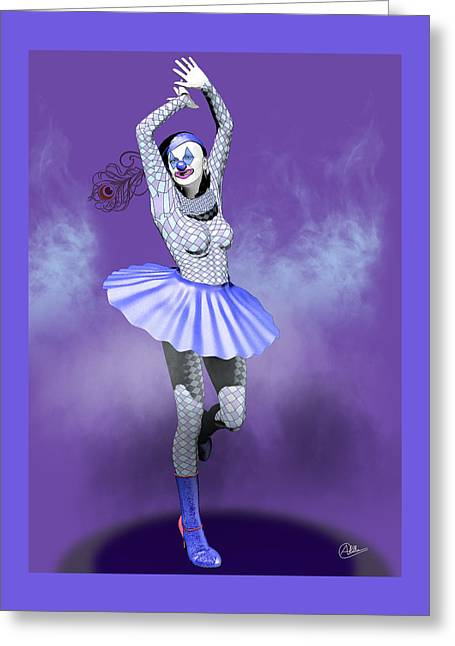 Jester Greeting Cards - Miss Pierrette in love  Greeting Card by Joaquin Abella