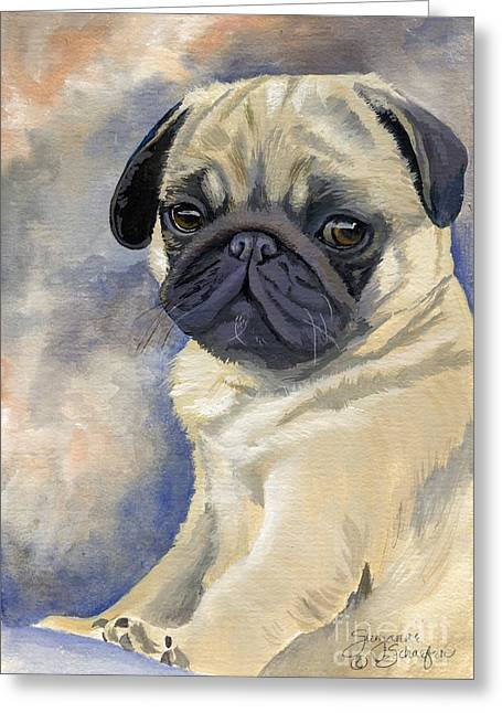 Miss Puggles Greeting Card by Suzanne Schaefer
