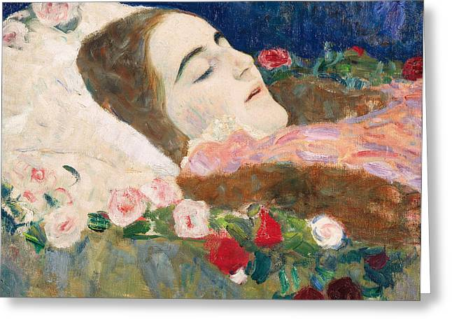 Woman Head Prints Greeting Cards - Miss Ria Munk on her Deathbed Greeting Card by Gustav Klimt