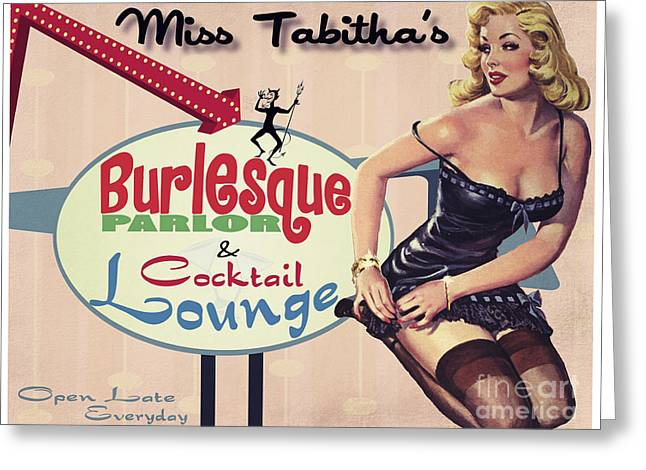 Lounging Digital Greeting Cards - Miss Tabithas Burlesque Parlor Greeting Card by Cinema Photography
