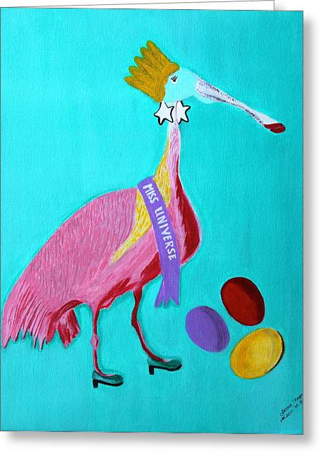 Earings Drawings Greeting Cards - Miss Universe Greeting Card by Lorna Maza