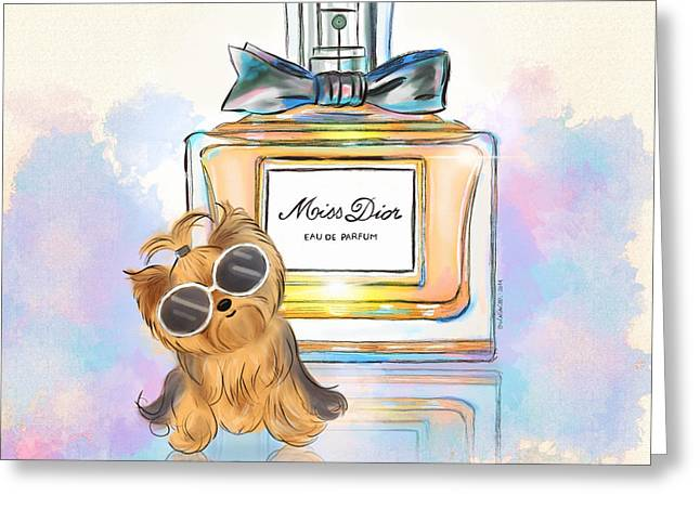 Yorkshire Terrier Watercolor Greeting Cards - Miss Yorkie Parfum Greeting Card by Catia Cho