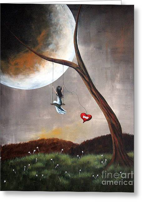 Outsider Art Paintings Greeting Cards - Original Surreal Artwork Girl On Swing Greeting Card by Shawna Erback