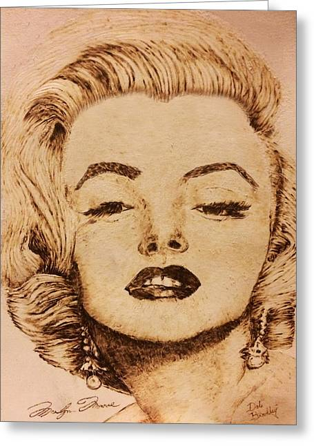 Celebrities Pyrography Greeting Cards - Missed Marilyn Greeting Card by Dale Bradley