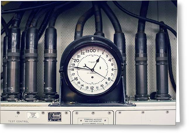 Missile Control Room Clock Greeting Card by Jim West