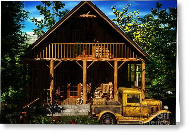 Hunting Cabin Digital Art Greeting Cards - Missing Home Greeting Card by Dave Young