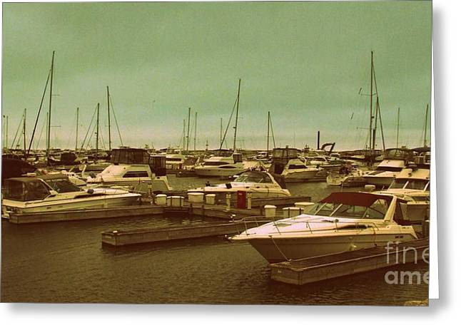 Sailboats Docked Greeting Cards - Missing One Greeting Card by Diane Reed