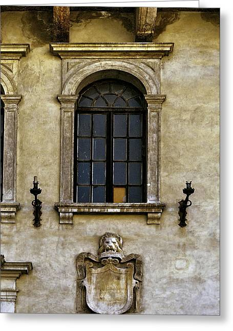 Candel Greeting Cards - Roman Window Greeting Card by Maria Coulson