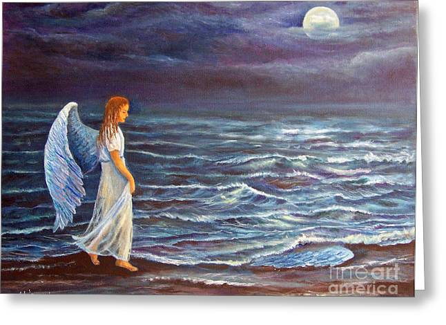 Night Angel Greeting Cards - Missing Wing Greeting Card by Alina Martinez-beatriz