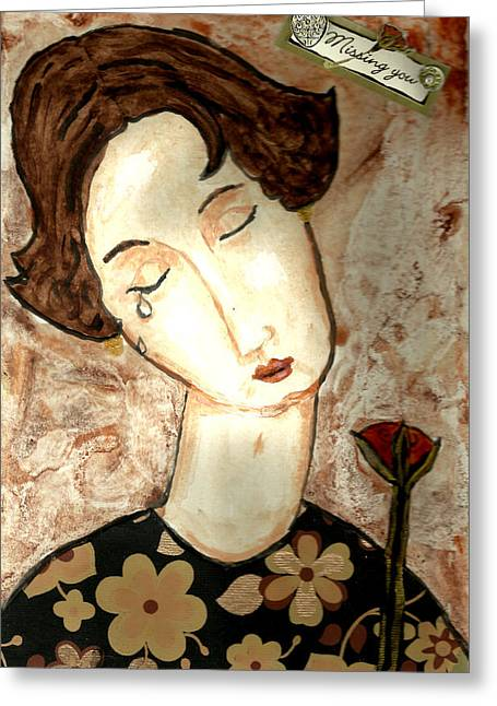 Missing You Greeting Card by Peg Holmes