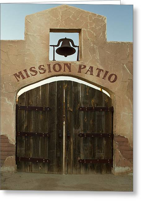 Hay Bales Greeting Cards - Missioin Patio Greeting Card by Douglas Barnett