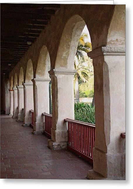 Mission Santa Barbara Greeting Cards - Mission Arches Greeting Card by Kathy Yates