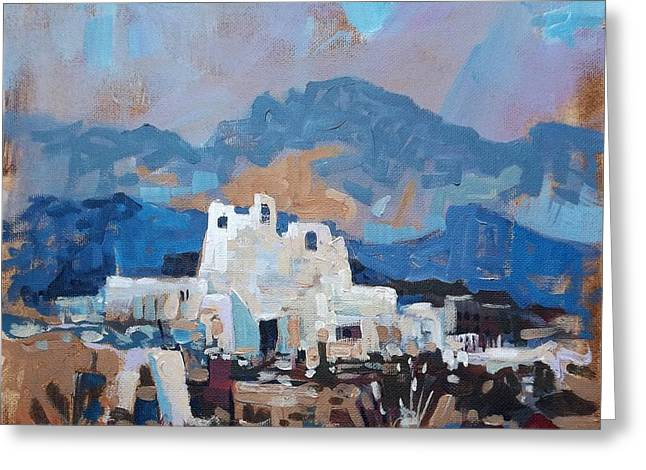 Mission At Dusk Greeting Card by Micheal Jones