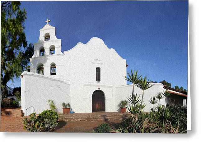 Historic Site Greeting Cards - Mission Basilica San Diego de Alcala Greeting Card by Stephen Stookey
