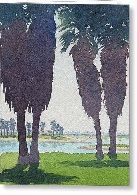 Mission Bay Park With Palms Greeting Card by Mary Helmreich