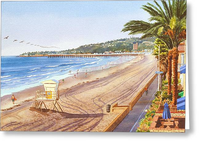 Pelican Greeting Cards - Mission Beach San Diego Greeting Card by Mary Helmreich