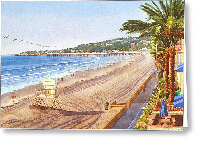 Mission Beach San Diego Greeting Card by Mary Helmreich