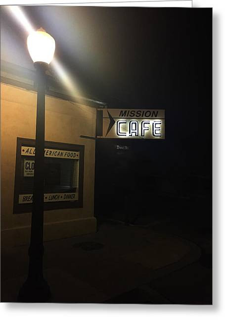 Vertigo Greeting Cards - Mission Cafe  San Juan Bautista Nights Greeting Card by Linda Roberts