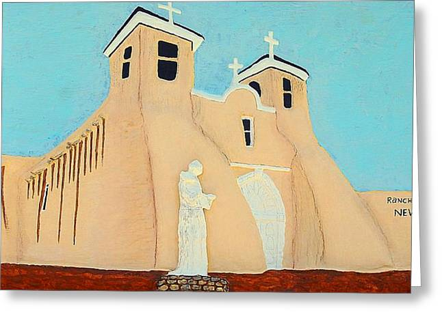 Adobe Reliefs Greeting Cards - Mission Church New Mexico Greeting Card by Alberto H-B