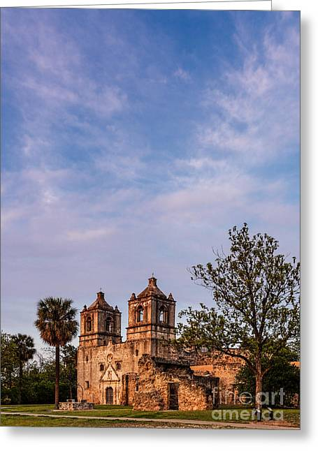 Historical Buildings Greeting Cards - Mission Concepcion at Dusk Golden Hour - San Antonio Texas Greeting Card by Silvio Ligutti