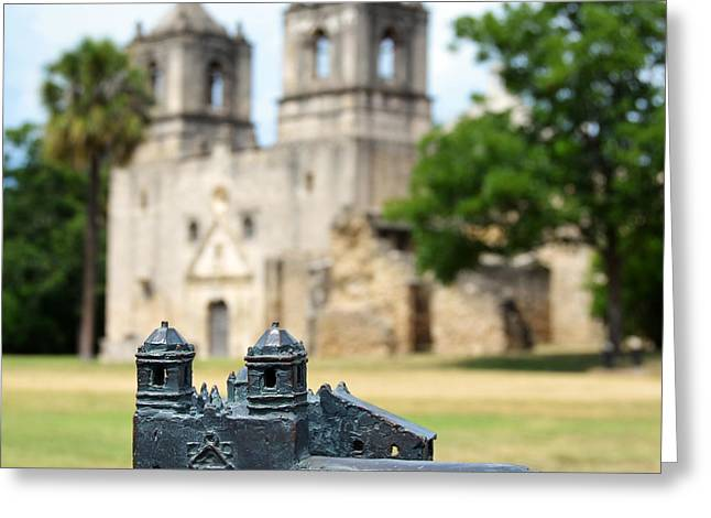 National Parks Greeting Cards - Mission Concepcion Bronze Diorama in San Antonio Missions National Historical Park Texas Square Greeting Card by Shawn O