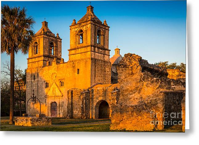 Daylight Greeting Cards - Mission Concepcion Greeting Card by Inge Johnsson