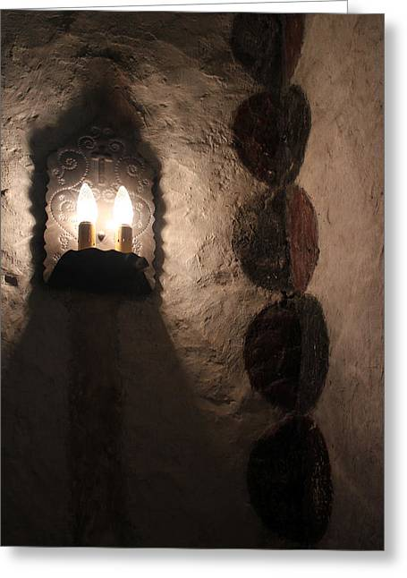 Church Fixture Greeting Cards - Mission Concepcion Light and Fresco Greeting Card by Mary Bedy