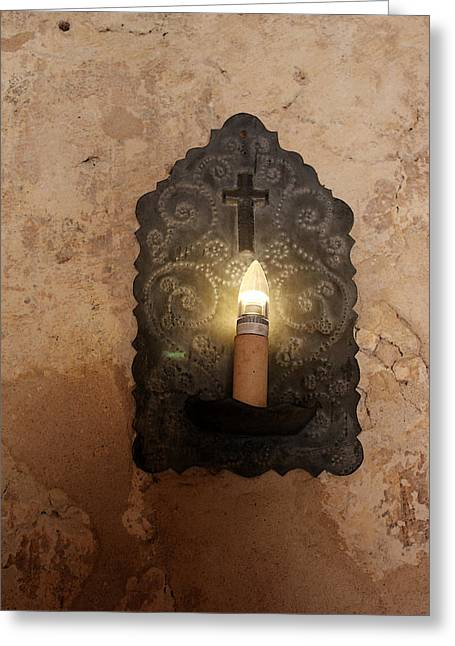 Church Fixture Greeting Cards - Mission Concepcion Light Fixture Greeting Card by Mary Bedy