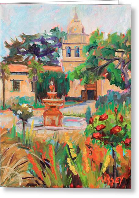 Carmel Greeting Cards - Mission Courtyard Greeting Card by Marie Massey