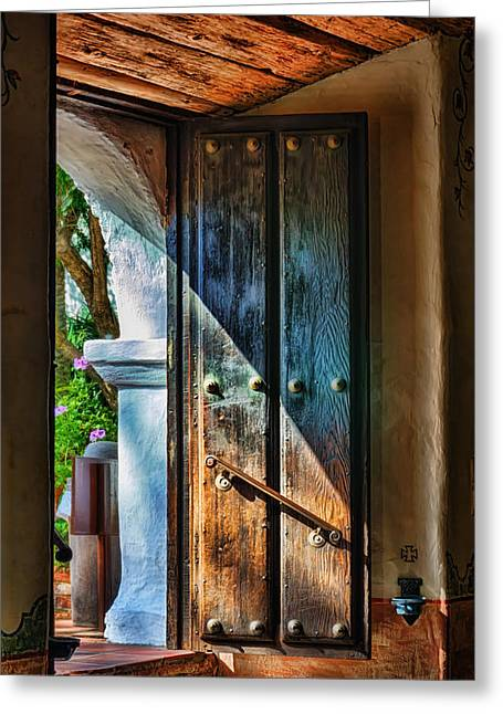Wooden Building Greeting Cards - Mission Door Greeting Card by Joan Carroll