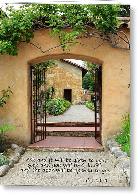 Carmel Greeting Cards - Mission Door with Scripture Greeting Card by Carol Groenen